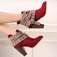 Fashion casual ankle boots for women frosted imitation leather Martin boots Red