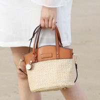 Summer Chic Brown Leather Trimmed Beige Straw Bag Tote Bag Beach Bag
