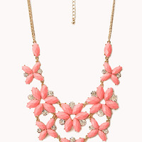 FOREVER 21 Fancy Floral & Rhinestone Necklace Coral Pink One