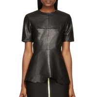 Alexander Wang Black Leather Fitted Short Sleeve Raw Hem Top