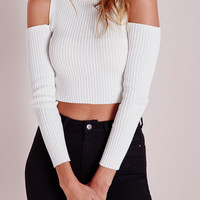 White Cold Shoulder Crop Tight Knitted Sweater