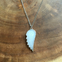 Angel Wing Druzy Necklace, Angel Wing Necklace, White Druzy Necklace, Gemstone Jewelry, 16 Inch Necklace, Free US Shipping