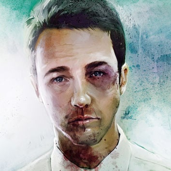 Edward Norton 'Tyler Durden' The Fight Club Framed Art Print by Vlad Rodriguez