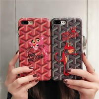 """""""Goyard"""" Personality Leather Embroidery Cartoon Pink Panther iPhoneX/8/6S Hard Phone Case iPhone7 Plus Couple Apple Phone Shell"""