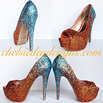 Miami Dolphins Glitter Peep Toe Pumps, Aqua Blue Orange Wedding Open Toe High Heels