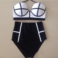 2016 High Waist Bikini Swimsuit Swimwear Women Halter Bikinis Women Push Up Bikini Plus Size Swimwear Bathing Suit Biquini