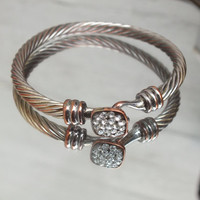 """Wire Style Bangle Bracelet with Accents, Silver / Bronze Color, 2"""" Arm Space, Nice Vintage Fashion Jewelry Free Shipping in USA"""