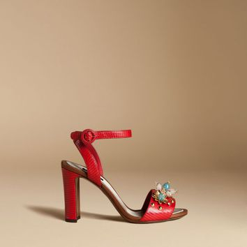 Sandal in iguana print leather with stones | dolce&gabbana online store