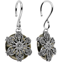 8 Gauge Handcrafted Pyrite Filigree Flower Ear Weights | Body Candy Body Jewelry