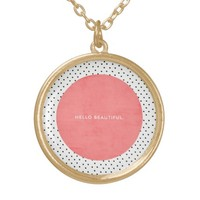 Hello Beautiful - Coral and dots Round Pendant Necklace
