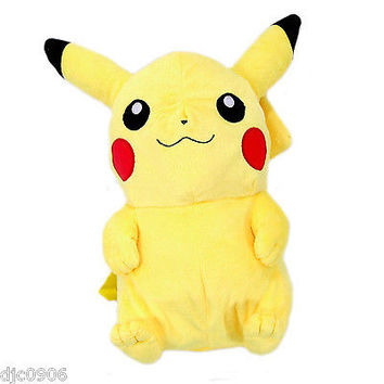 """Pokemon Pikachu 18"""" Plush Backpack  Back Pack Tote Bag by Nintendo -NEW withTags"""