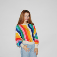 1970s Vintage Rainbow  Sweater