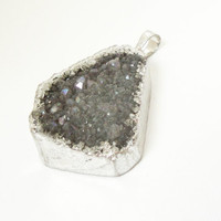 Druzy Silver Pendant, Grey Sparkly Drusy Dipped  in Silver Triangle Pendant, Drussy Gemstone Pendant With Loop, Select With Or Without Chain