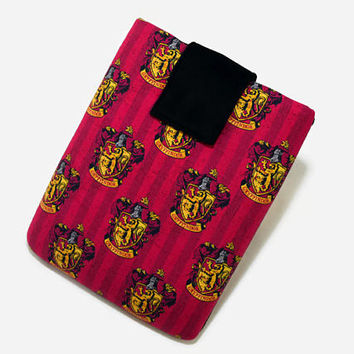 Tablet Case, iPad Cover, Harry Potter, Gryffindor, Hogwarts House, Kindle Fire Case,  7, 8, 9, 10 inch Sleeve, Cozy, Handmade, FOAM Padding