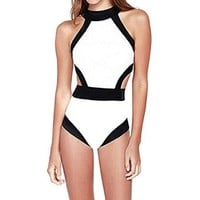 Zeagoo Women's Patchwork One-piece Swimwear Sexy High Waist Swimsuit Bandage Monokini