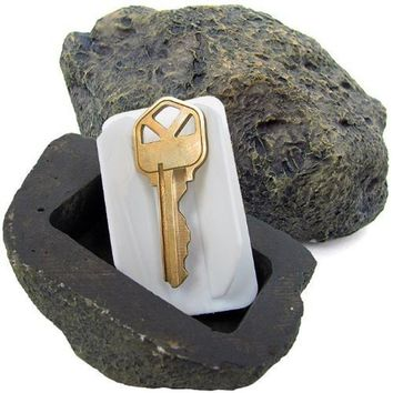 Instereting Resin Chic Simulation Rock Fake Stone Key Holder For Door Home Spare Key Holder Camouflage Box For Treasure Game