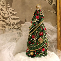 Vintage jewelry Christmas Tree rhinestones home decor French chic table Christmas tree decor