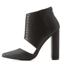 Black Snakeskin-Textured Pointed Toe Chunky Heels by Charlotte Russe
