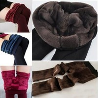 Women's Fashion Winter Thick Fleece Lined Thermal Tights Pants Leggings Tights Pants 8 Colors [8834054604]