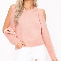 Aingeal Blush Cropped Cold Shoulder Knitted Jumper