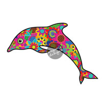 Dolphin Car Window Decal Flower Colorful Beach Bumper Sticker Laptop Decal Ocean Yellow Pink Teal