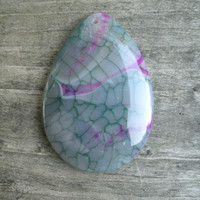 Pretty Dragon Vein Agate, teardrop pendant bead, polished and drilled, DIY jewelry supply, drilled front to back, purple/pink, green/blue