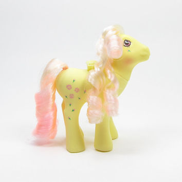 Rosedust Flutter Pony My Little Pony G1 Vintage Year 4 with Yellow Body, Pink Hair