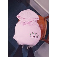 Gucci Pink Hoodie Chest Rose Print Top