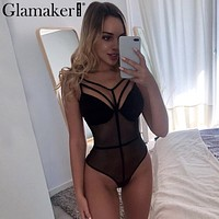 Glamaker Mesh hollow out black sexy bodysuit Women bandage  transparent strap party bodysuit Female bodycon summer body suit