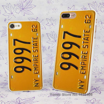 license plate NY empire state 62 Design hard White Skin Case Cover for Apple iPhone 7 6 6s Plus SE 5c 5 5s 4 4s