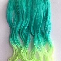 X&Y ANGEL- New Two Tone One Piece Long Curl/curly/wavy Synthetic Thick Hair Extension Clip-on Hairpieces 26 Colors (light green to vanilla)