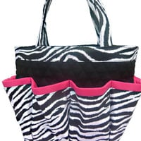 Zebra Bingo Bag with Pink Trim // Craft Organizer // Makeup Organizer // Caddy // Teacher Tote // Nurse Tote