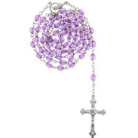 Purple Bead Rosary with Round Faceted Beads in 6mm - 28'' Necklace - 20'' Overall Length