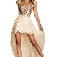 made2envy Charming Chiffon Sequined Asymmetric Long Dress (M, Gold) C6153-1