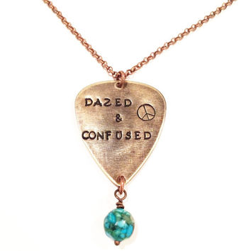 "Led Zeppelin Metal Guitar Pick ""Dazed & Confused"" Necklace, Vintaj Hand Stamped"