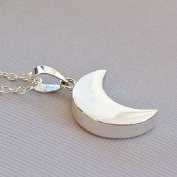 Sterling Silver Crescent Moon Charm Necklace, Moon Pendant Necklace, Crescent Moon Jewelry
