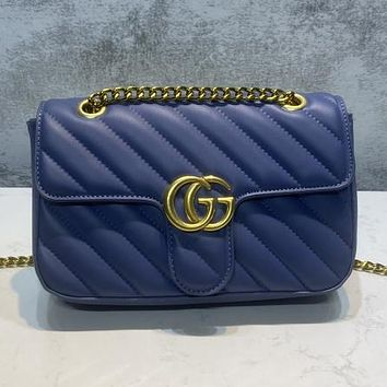 GUCCI GG solid color sewing thread flap shoulder bag lady shopping chain messenger bag
