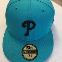 PHILADELPHIA PHILLIES TEAL BLACK P 5950 NEW ERA FLAT BRIM FITTED HAT
