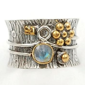 "Moonstone ""Garden"" Two Tone Sterling Silver Band Ring"
