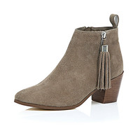 River Island Womens Beige suede tassel heeled ankle boots