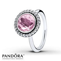 PANDORA Ring Clear & Pink CZ Sterling Silver