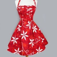 1950's Red Hawaiian Alfred Shaheen Tea Length Dress - M VINTAGE RED HAWAIIAN DRESS: SHAHEEN :
