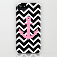 Pink Anchor Black Chevron Zigzag Pattern iPhone Case by RexLambo | Society6