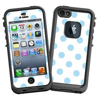 Baby Blue Polka Dot on White Skin  for the iPhone 5 Lifeproof Case by skinzy.com