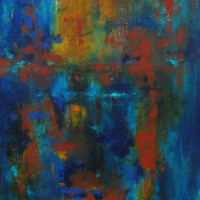 """Original Abstract Painting modern wall art Blue Green Yellow Rust Red 36"""" x 48"""" By Renae Smelko"""