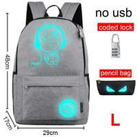 School Backpack Raged Sheep  Student Luminous Animation School Bags For Teenager USB Charge Computer Anti-theft Laptop Backpack AT_48_3