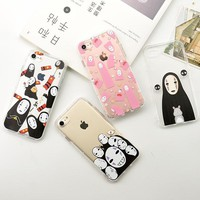 Cartoon Cute Lovely Totoro & No Face man Shockproof Soft TPU Cell Phone Case for iPhone 7 6 6S Plus Fundas Capas Para Coque