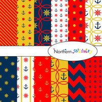 Digital Scrapbooking Paper Pack – nautical theme paper in navy blue, red, & gold with anchors and ship helms – instant download – CU OK