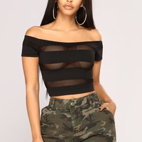The Meshier The Better Crop Top - Black