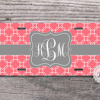 Personalized License plate - Gray ribbon on Coral Modern Trellis monogrammed front car tag - 144
